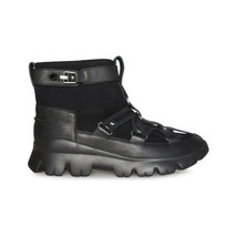 UGG LAKES & LIGHTS CLASSIC SHORT BLACK LEATHER WOMEN'S SNEAKERS SIZE US ... - $144.99