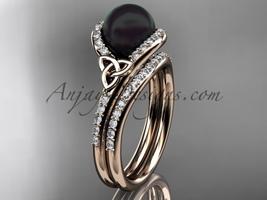 Black Cultured Pearl Celtic Wedding Set 14k Rose Gold Diamond, CTBP7317S - $2,095.00