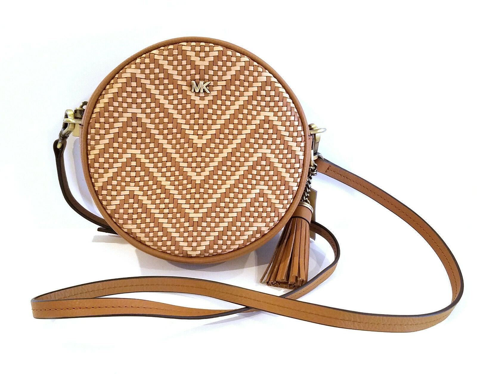 eeb22757106947 S l1600. S l1600. Previous. Michael Kors Canteen Chevron Woven Leather  Circle Crossbody Handbag NEW