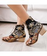Women Pointed Toe Embroideried Lace Up Block Boots - €51,67 EUR