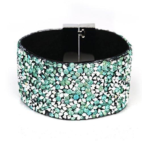 UNITED ELEGANCE Stylish Cuff Wristband With Sparkling Swarovski Style Crystals