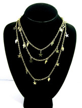 """Stars And Feathers Charms Necklace Vintage Tiny Pendants Goldtone 52"""" Length - $14.99"""