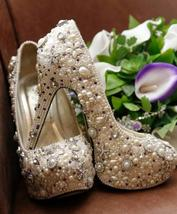 ivory pearl bridal shoes dancer party shoes added lavender crystal luxur... - $145.00