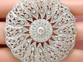 ART DECO 3ctw DIAMOND PLATINUM PEACOCK MANDALA BIG STATEMENT BROOCH PEND... - $6,335.01