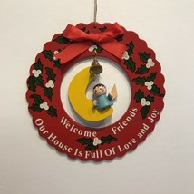 Vintage Wooden Christmas Ornament 4.875in Giftco Wreath Welcome Friends ... - $10.74