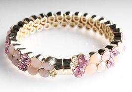 Stella + Ruby Gold Pink Austrian Crystal Magnetic Hinge Bangle Bracelet NWT image 4