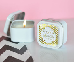 Personalized Gold Silver Foil Square Round Candle Tin Anniversary Weddin... - $82.60+