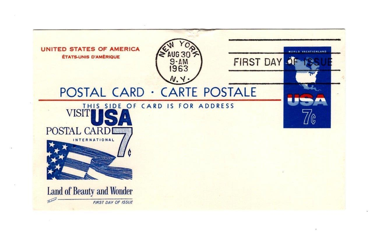 POSTCARD-FDC  POST CARD-CARTE POSTALE - INTERNATIONAL USA 7c 1963  BK12