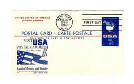 POSTCARD-FDC  POST CARD-CARTE POSTALE - INTERNATIONAL USA 7c 1963  BK12 - $1.96