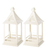 2 Belfort Candle Lanterns White Metal with Glass Candle Cup - $35.40