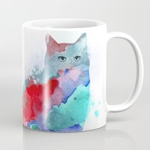 Coffee Mug Cup 11oz or 15oz Made USA Cat 609 aqua blue red pink art L.Dumas - $19.99+