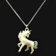 """Süße Einhorn Halskette 17 """" Kette Weiß Emaille Charm Anhänger Magischer Pferd - $9.85"""