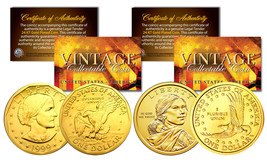Sacagawea & Susan B Anthony 24K Gold Plated U.S. Dollar History Women 2-... - $12.85