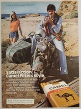 1979 Print Ad Camel Filter Cigarette Man on Motorcycle Smokes Pretty Lady - $11.56