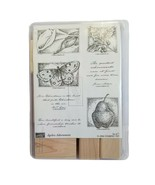 Stampin Up Ageless Adornment Set of 7 rubber stamps 2004 New Moth Pear Holly  - $16.20