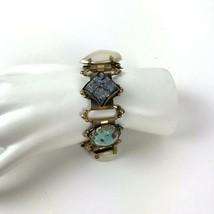 Vintage Gold Tone Panel Link Bracelet Statement Faux Stones Victorian Style - $19.79