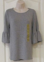 Adrianna Papell Ruffle Sleeve Top Heather Gray Women's Sz. L  NWT MSRP$49 - $23.01