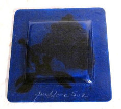 Pablo E Suz Handmade Fused Glass Triangle Shape Table Display -Signed by Artist image 2