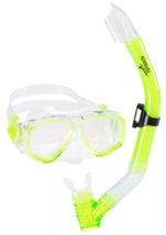 Speedo Dive Junior Lime Surf Reef Scout Mask + Snorkel Combo Green Ages 6-14 NEW