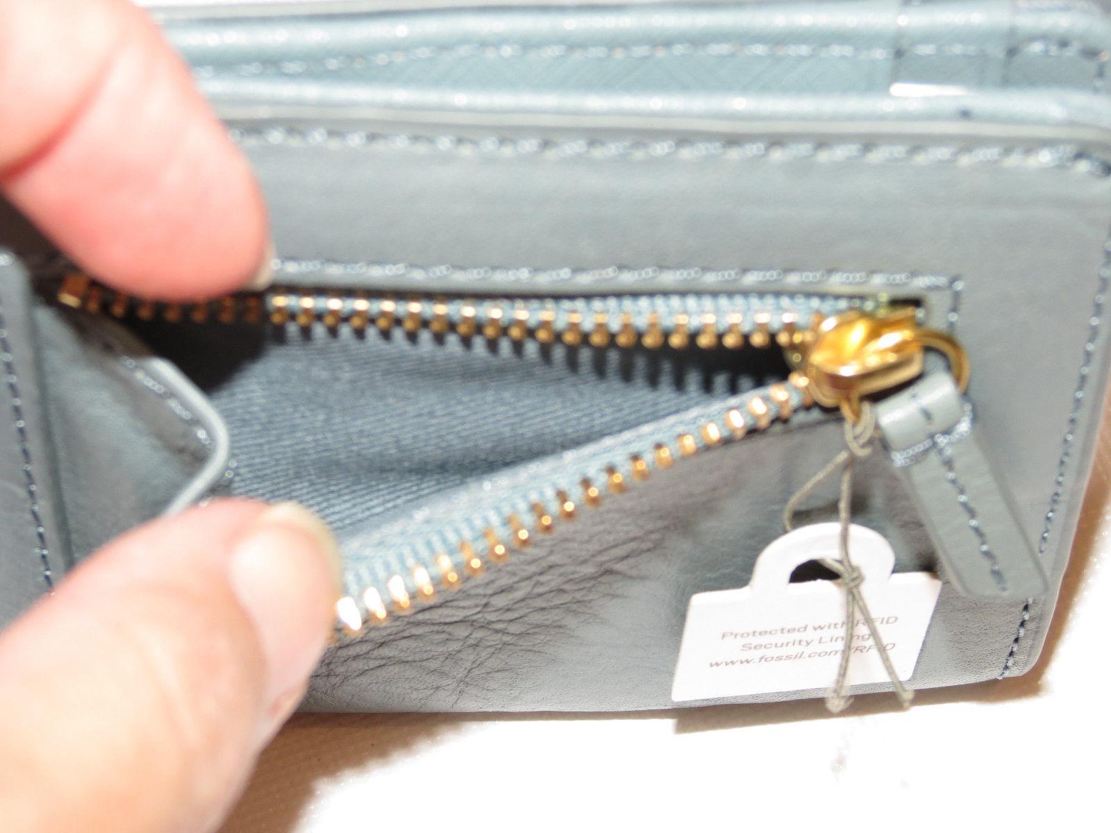 Fossil SL7567998 Emma Mini Wallet Multi grey pink wine RFID leather NWT*^