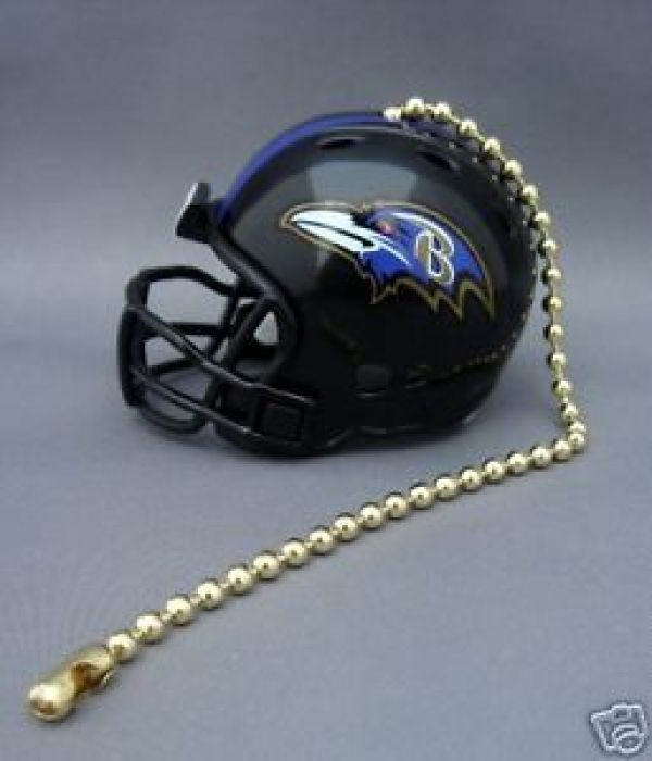 BALTIMORE RAVENS CEILING FAN LIGHT PULL & CHAIN NFL FOOTBALL HELMET