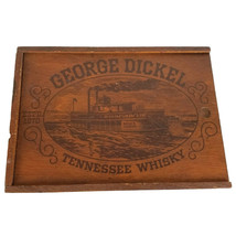 Vintage George Dickel Tennessee Whisky Steamboat Sliding Lid Wooden Wood... - $34.12