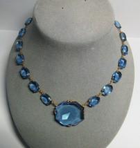 """Antique Vintage Deco Czech Czechoslovakia Blue Glass Stone Pendant 18"""" N... - $98.01"""
