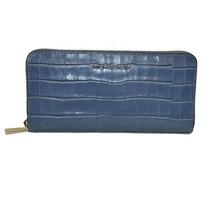 Michael Kors Mercer Zip Around Continental Croco Wallet DREAMY DENIM Clu... - $121.52