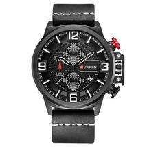 CURREN 8278 Business Style Men Watch Chronograph Genuine Leather Band Quartz Wat - $29.99