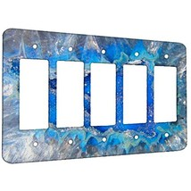 Geode Crystal Azure - Decor Wall Plate Cover Metal 5 Gang Decora - $18.53