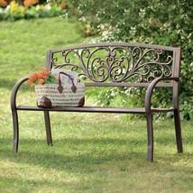 Metal Garden Bench Cast Iron Outdoor Patio Porch Vintage Bronze Finish F... - $139.99
