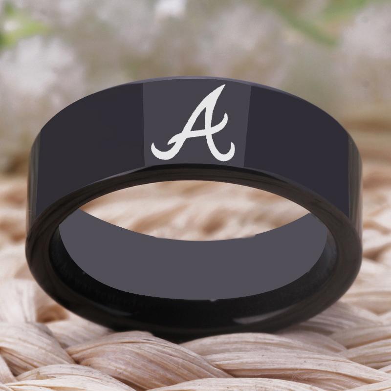 timeless design e76fa cefd8 Ygk brand 8mm black pipe style men s tungsten carbide ring atlanta braves  design ring wedding