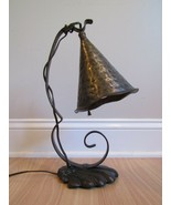 ANTIQUE Arts & Crafts Witch Hat lamp Wrought Smoke Cone Shade HAND FORGE... - $140.24