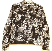 COLDWATER CREEK - Navy and Ivory Floral Blazer Style Jacket - Women's Size: 14 - $27.13