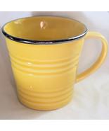 Starbucks Coffee Mug Yellow Silver Rim Grooved Ringed Ribbed Bucket 14 oz - $12.99