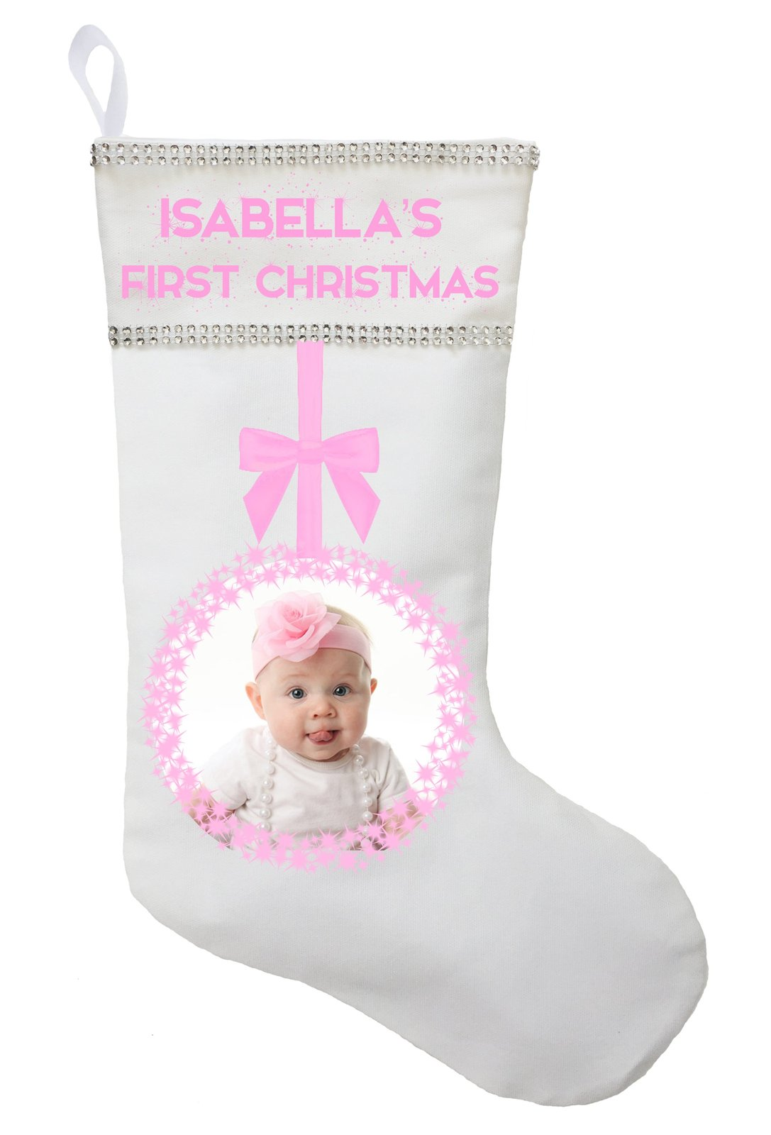 First Christmas Stocking with Photo - Personalized and Hand Made image 3