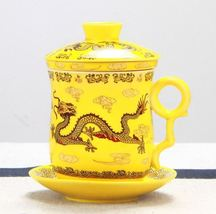 Gold Dragon Yellow Mug with Filter Ceramic Tea Cups + Cover + Saucer - $46.95