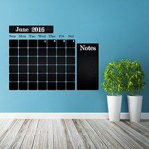 ( 39'' x 29'' ) Chalkboard Vinyl Wall Decal Calendar with Notes / Blackboard Mon - $38.11