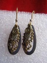 Vintage Blue with Filigree insert Dangle Earrings - $7.66