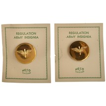 Vintage WWII US Army Air Corps Brass Screwback Collar Disc Device Pair Carded - $34.65