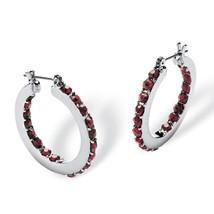 PalmBeach Jewelry Birthstone Inside Out Hoop Earrings in Silvertone (31mm) - $18.82