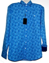 Bugatchi Men's Blue Bright Plaids Cotton  Shirt Sz XL Shaped Fit New $179 - $98.01
