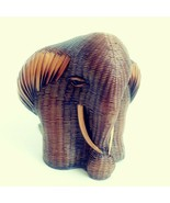Shanghai Handicrafts Elephant Head Display Bookend Woven Straw Wicker Br... - $28.98