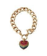 Multicolore Arc-en-Ciel Faux-Diamants Coeur Doré Chaîne Bracelet Bascule... - £10.23 GBP