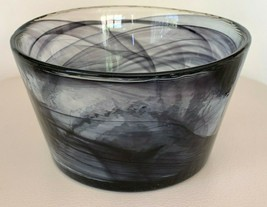 "Kosta Boda Ulrica Hayden Vallien Mine Purple Swirl Art Glass Bowl 6 3/4"" W - $39.00"