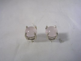 ROSE QUARTZ  EARRINGS SET IN STERLING SILVER ROUND 5MM CABOCHON - $23.33