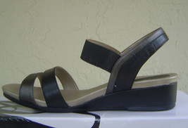 NEW EASY SPIRIT BLACK LEATHER WEDGE SANDALS SIZE 8 M $79 - $32.04