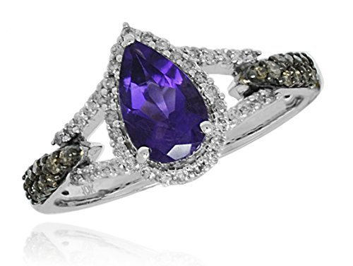 10 k White Gold Genuine Amethyst Brown Diamonds Fancy Womens Ring