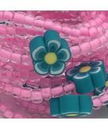 Aqua Blue Flower Beaded Stretch Bracelets Lot of 14 Kid Size USA Handmade - $19.99