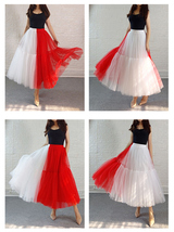 Red White Long Tulle Skirt Outfit Contrast Color Tutu Skirt Plus Size High Waist image 9